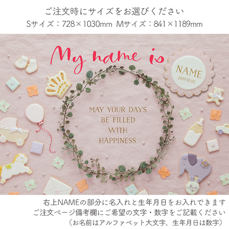 ★おうち写真館   happy-cookie  SWEET PINK *名入れあり [bdi]
