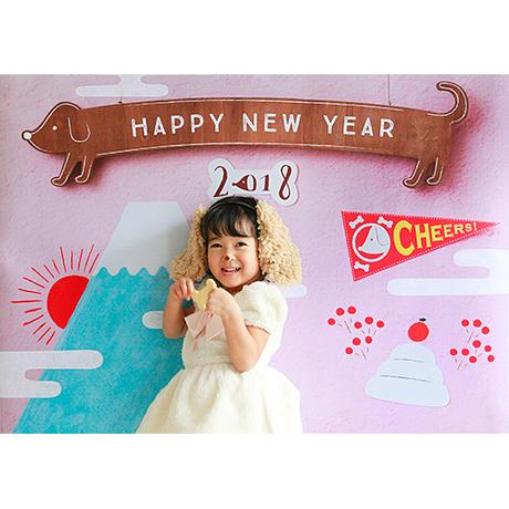 間もなく終了【最終受付】 おうち写真館 戌年  pink Mサイズ(縦841 × 横1189 mm)