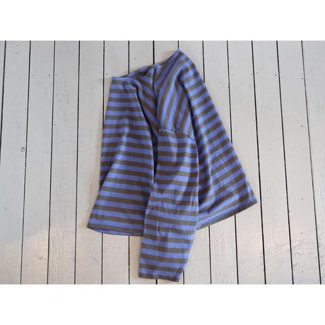 maillot (レディース)  / ボーダービッグボートネックT 【ブルー×チャコール / サイズ 0 のみ】