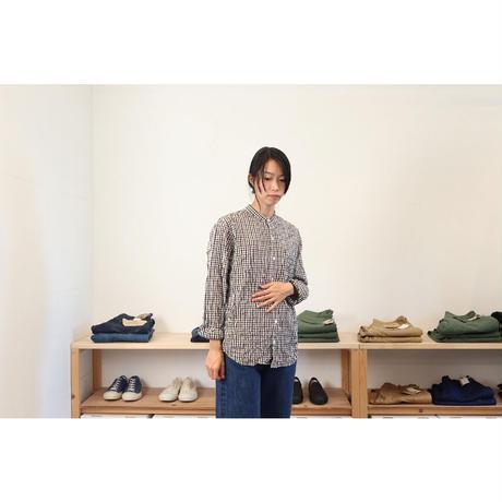 VAS-Y LENTMENT バジーラントマン (レディース)/ バンドカラーシャツ 【チェック柄 / 2サイズ】