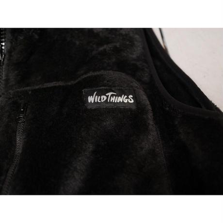 WILD THINGS ワイルドシングス(ユニセックス)/ SHAGGY FLEECE VEST シャギーフリースベスト【ブラック / S , M 】