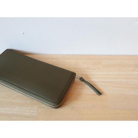 ERA. イーラ  / BUBBLE CALF ROUND SLIM WALLET 長財布 【オリーブ】