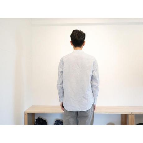 MUYA ムヤ【ユニセックス】 / アトリエシャツ リラックス スタンドカラー 【ストライプ / ライトグレー】