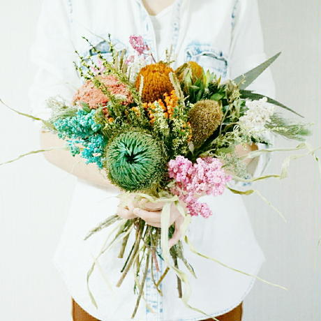 インスタで好評のカラフルな花束 col1 リビングや玄関のインテリア、ギフトに