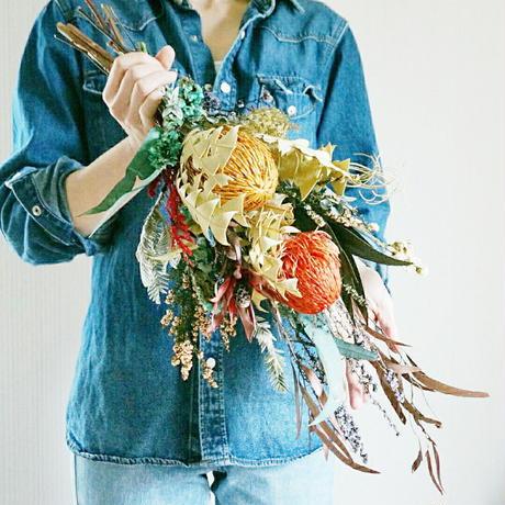 『個性的なお花のボリューミーなスワッグ mix01011』壁掛け おしゃれなインテリア