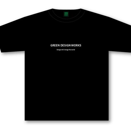 GREEN DESIGN WORKS ロゴT (生地色:黒/ロゴ色:白)