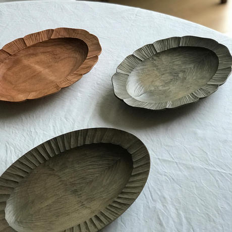 オーバル皿(鉄媒染)  /   岡野達也