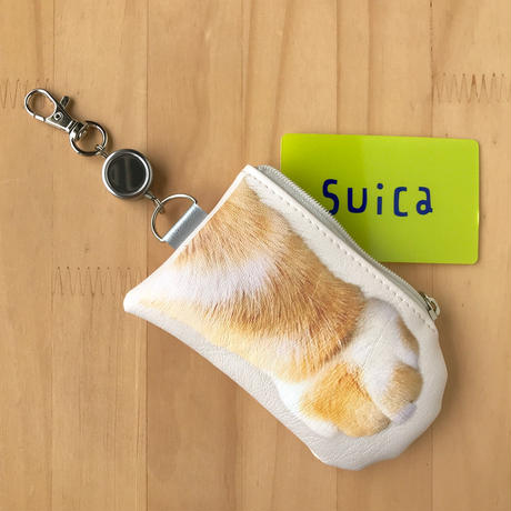 CAT PAW PASS HOLDER _leatherette_Orange & white