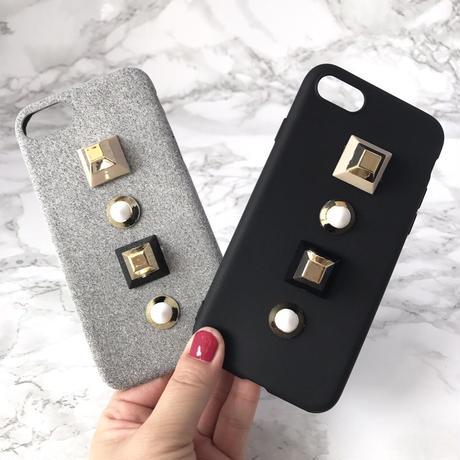 【送料無料】2カラーブラックorグレーのソフトケースに大人気のキュービックスタッズ付 iPhoneケース