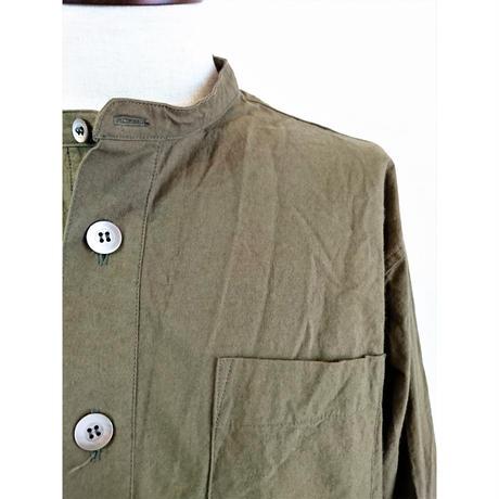 【Audience/オーディエンス】馬布ヴィンテージフィニッシュ バンドカラーシャツ オリーブ