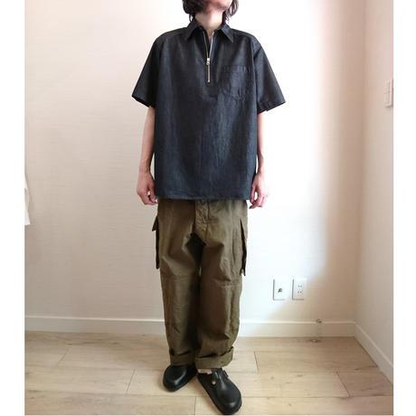 【BARNS OUT FITTERS/バーンズアウトフィッターズ】6ozデニムハーフZIPシャツ