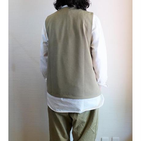【Audience/オーディエンス】Reflax(リフラクス)リネンライク ビッグポケットベスト グレーベージュ