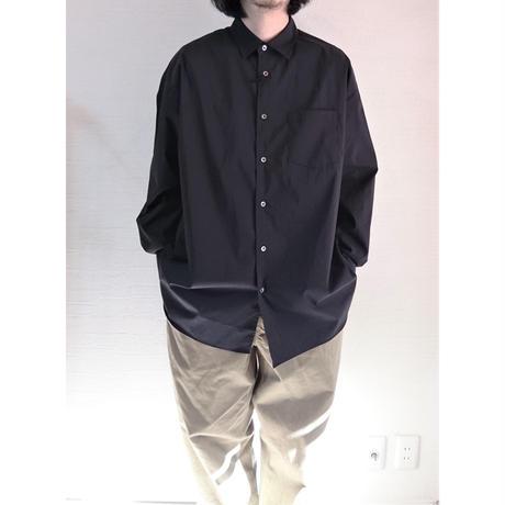 【Audience/オーディエンス】ストレッチタイプライター レギュラーカラー ボクシーシャツ ブラック