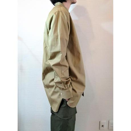 【Le Sans Pareil/ル サン パレイユ】 コットンツイル バンドカラーシャツ ホワイト ベージュ