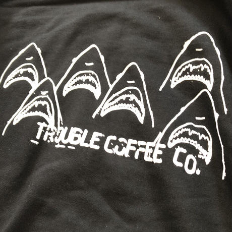 "TROUBLE COFFE CO. "" #SHARK "" 6.1oz Heavy Weight Cotton Tee White"