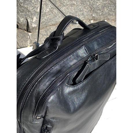 【撥水レザー使用】マスクケース付き 定番ビジネスリュック(本革)guardant BLACK