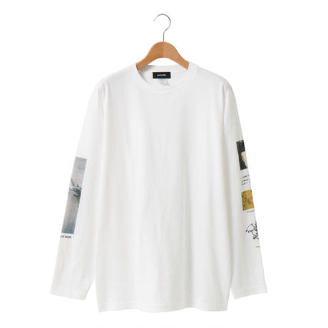 Sleeve Print LS T-shirt / White