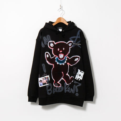 Hand Painted Over Hoody / Black / No.102