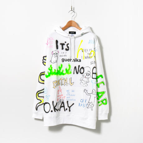 Hand Painted Over Hoody (ALL) / White / No.1