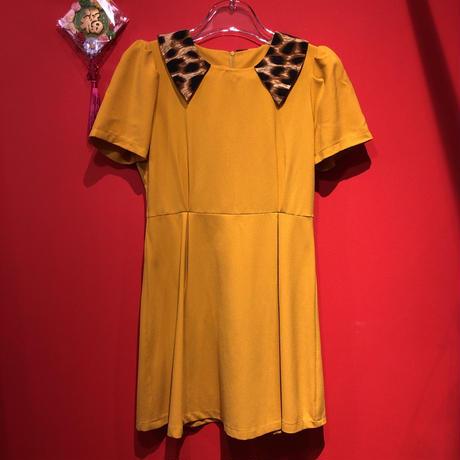 【USED 古着】豹柄&イエロー パフスリーブショート丈ドレス AM15295106-8