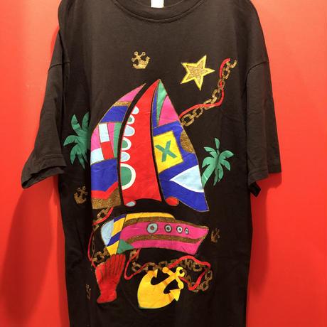 【USED 古着】ヨット柄ラメプリントTシャツ used0008
