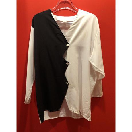 【USED 古着】80's ジグザグデザイン ノーカラー七分袖シャツ AM15295371-7
