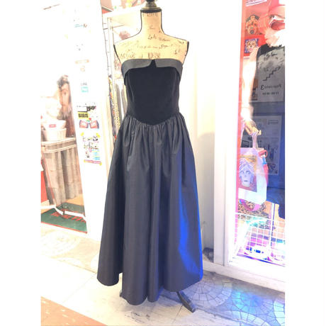 【USED 古着】80年代ブラックタフタビスチェドレス AM15295106-21