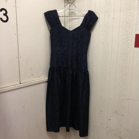 【USED 古着】90年代 バラ柄刺繍ワンピースドレス ミッドナイトブルー ネイビー AM15295106