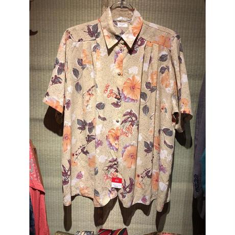 【USED 古着】花柄プリント半袖ポリエステルタックシャツ AM15295371-28