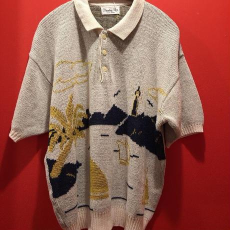 【USED 古着】ヨット柄サマーニットポロシャツ used0019