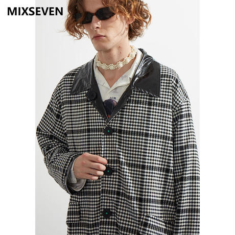 【MIXSEVEN】 Black and white houndstooth mid-length reversible  trench coat  M8W03