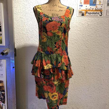 【USED 古着】花柄ドロップウエストパイピングドレス AM15295106-21
