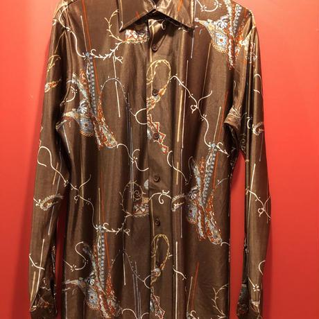 【USED 古着】70's ペイズリー柄 長袖ポリシャツ used0009