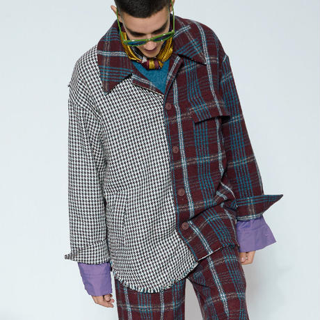 【MIXSEVEN】Wine red grid houndstooth cotton shirt jacket  M8W14