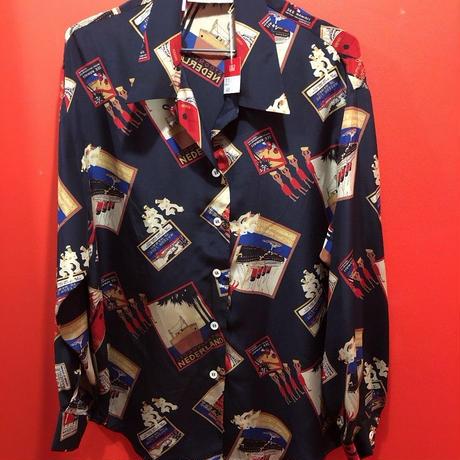 【USED 古着】セーラー柄プリントオープンカラー長袖シルクシャツ 開襟  1482901252-34