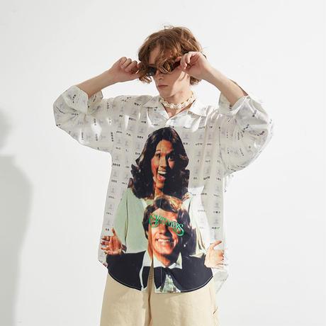 【MIXSEVEN】Carpenters print open collar white long-sleeved shirt  M8C01
