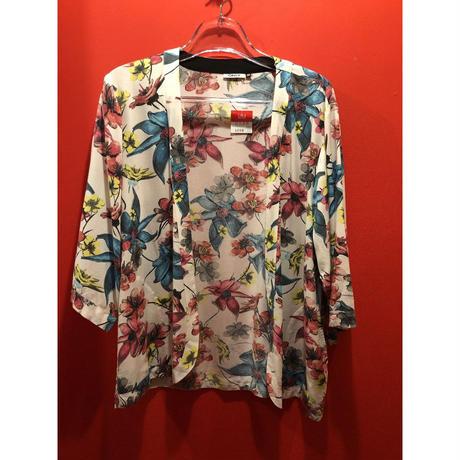 【USED 古着】花柄プリントノーカラー七分袖シャツ AM15295371-23