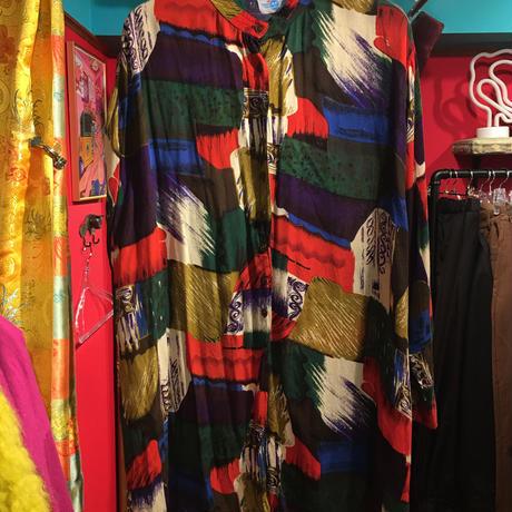 【USED 古着】オーバーサイズ マオカラー 総柄 レーヨンシャツ  used201210-7