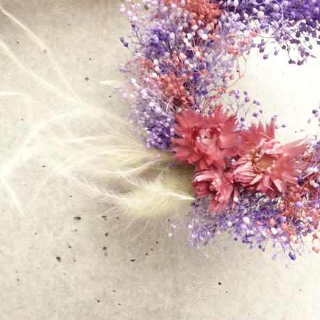BABY'S BREATH  MINI WREATH (pink&lavender)ヘアアクセサリー付