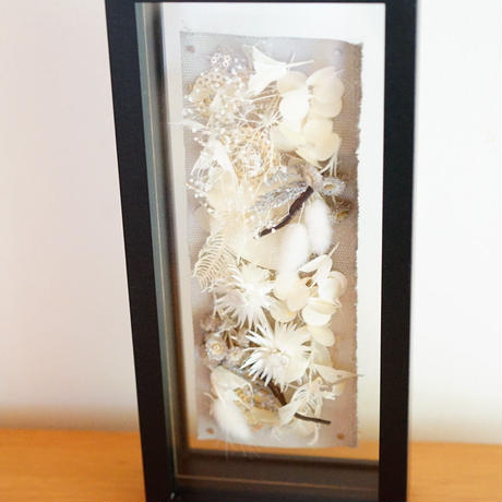 flower frame rectangle M (white)