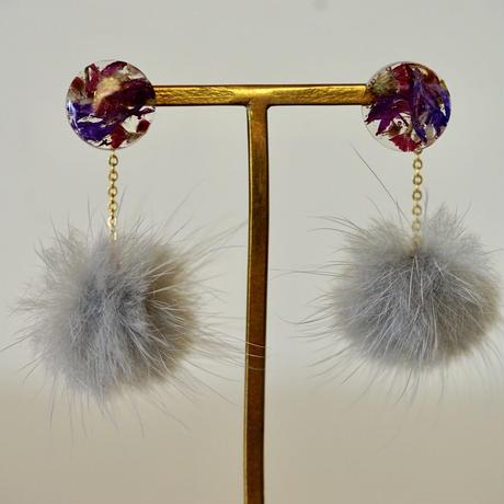 "Swaying fur pierce(earrings) ""Lapei loja flower"""