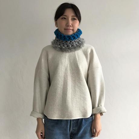 【proef】AMO  フェイクファー付きスヌード(Grey&Blue)