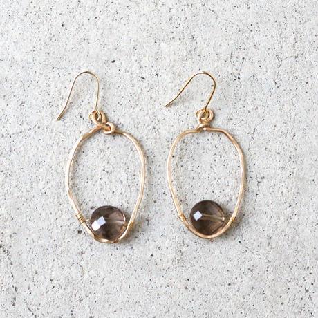 Round-hoop Gemstone Earrings (Smokey quartz)