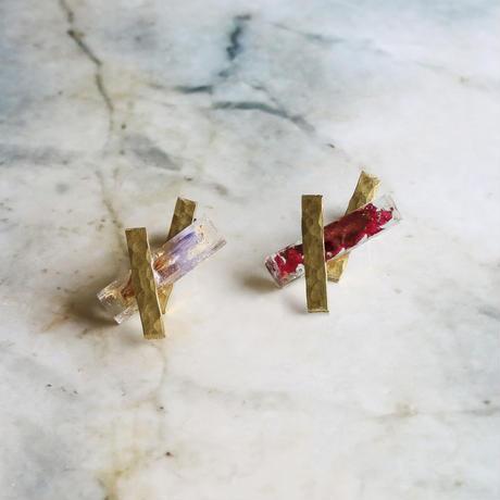 Brass & Flower Crystal Earrings