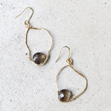 Distorted-hoop Gemstone Earrings (Smokey quartz)