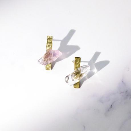 Brass & Gemstone Petit Earring