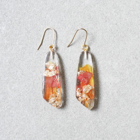 Flower Resin Earrings(dalia-orange)