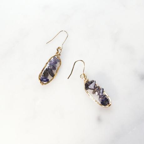 Petit-hoop Gemstone Earrings (Iolite)