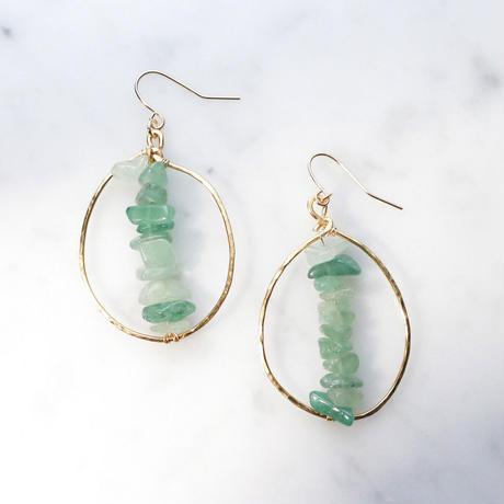 Big-hoop  Gemstone Earrings (Aventurine)