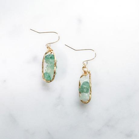 Petit-hoop Gemstone Earrings (Aventurine)